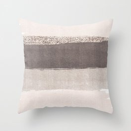 Blush tones watercolor ombre gold glitter brushstrokes Throw Pillow