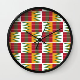 Bright Kente Cloth 6 Wall Clock
