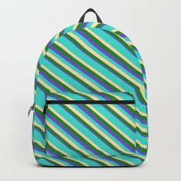 Turquoise, Beige, Forest Green, and Slate Blue Colored Lines/Stripes Pattern Backpack