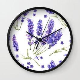 watercolor lavender flowers Wall Clock