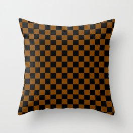 Black and Chocolate Brown Checkerboard Throw Pillow
