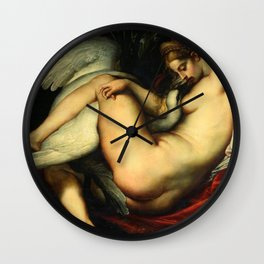 Peter Paul Rubens - Leda and the swan embracing Wall Clock