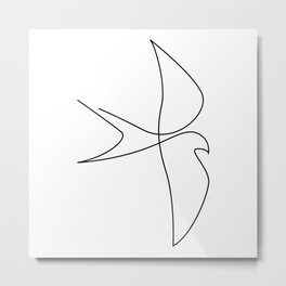one line bird - abrupt Metal Print