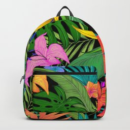 Tropical Greens and Flowers Backpack