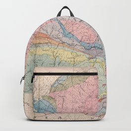 Vintage Geological Map of New York State (1870) Backpack