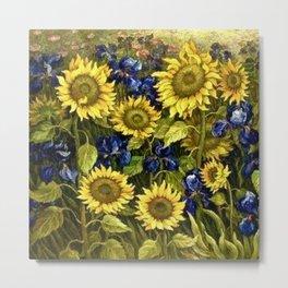 Sunflowers & Blue Irises by Vincent van Gogh Metal Print