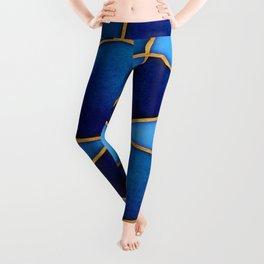 Cobalt Watercolor Skewed Color Blocks Leggings