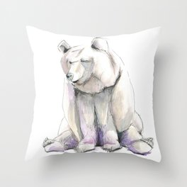 Blueberry Bear Illustration Throw Pillow