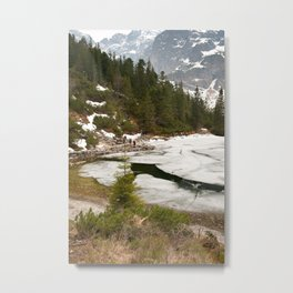 Tourists trek around Morskie Oko Lake Metal Print