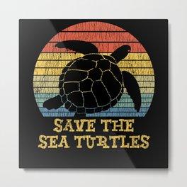 Vintage Save The Sea Turtles Animal Right Turtle Metal Print