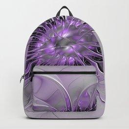 Lilac Fantasy Flower, Fractal Art Backpack