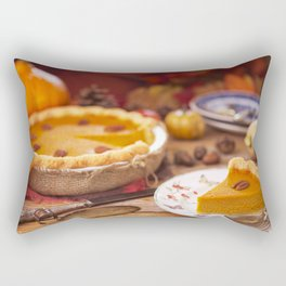 III - Homemade pumpkin pie on a rustic table with autumn decorations Rectangular Pillow