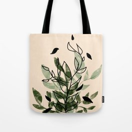 Green and black leaves Tote Bag