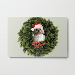 Top Model Paul Shih Tzu Dog Santa Claus - Wreath - Merry Christmas Metal Print