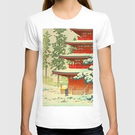 Vintage Japanese Woodblock Print Japanese Shinto Shrine Red Pagoda With Snow Capped Trees T-shirt