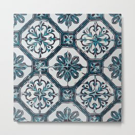 Floral ceramic tile design in blue color #Terrazzo #Blobs Metal Print