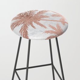 Tropical simple rose gold palm trees white marble Bar Stool