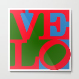 Velo Love – Logo – June 12th – 200th Birthday of the Bicycle Metal Print