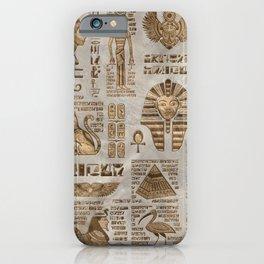 Egyptian hieroglyphs and deities -Vintage Gold iPhone Case