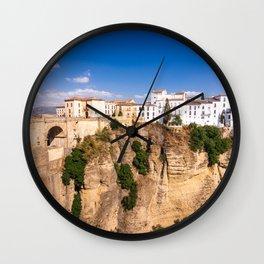 Puente Nuevo stone bridge and Pueblos Blancos in mountaintop town of Ronda in Spain Wall Clock