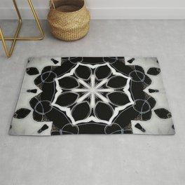 Icelandic // Geometric Black White Sacred Geometry Flower Life Peace Healing Energy Star Circle Rug