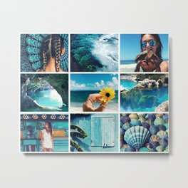 Turquoise Summer Moodboard Metal Print