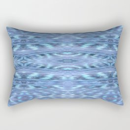 SoCal Blue Ikat Pattern Blue Print Rectangular Pillow