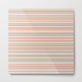 Fine Stripes Pastel Pattern in Celadon Mint and Millennial Pink Peach  Metal Print