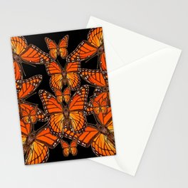Monarch Butterflies Migration Black Pattern Art Stationery Cards
