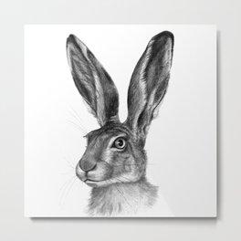 Cute Hare portrait G126 Metal Print