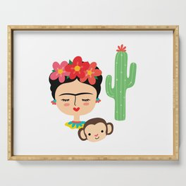 Frida Kahlo inspired illustration, with Monkey and Cactus Serving Tray