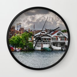Boathouses At Henley on Thames Wall Clock