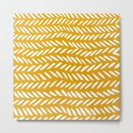 Knitting pattern - white on ochre Metal Print
