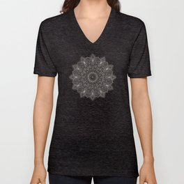 Beautiful hand drawn silver mandala on black Unisex V-Neck