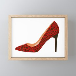 Red Leopard Print High Heel Shoe Framed Mini Art Print