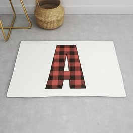 Letter A Monogram Black and Red Buffalo Plaid/Check Rug