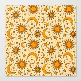 Vintage Sun and Star Print Canvas Print