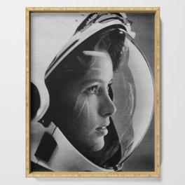 NASA Astronaut, Anna Fisher, black and white photograph Serving Tray