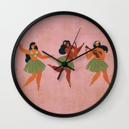 Hawaiian Hula Dancer Girls on Aged Pink Wall Clock