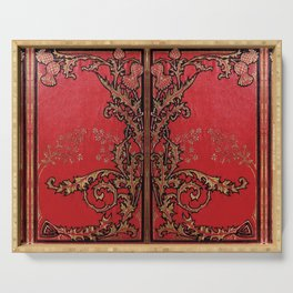 Red and Gold Thistles Serving Tray