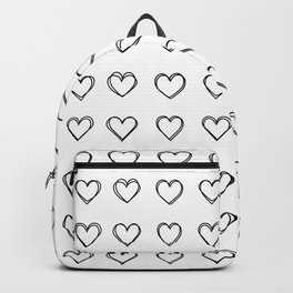 heart shape pattern - drawing black and white Backpack
