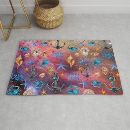 Seashells And Anchors Pattern, Sea Waves Artwork Rug