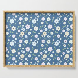 Small Flowers on Blue Serving Tray