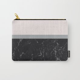 Grey Black Marble Meets Romantic Pink #1 #decor #art #society6 Carry-All Pouch