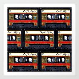 Retro classic vintage gold mix cassette tape Art Print