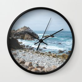 The Restless Sea | Nature Landscape Photography of the Californian Coast's Blue Waves Wall Clock