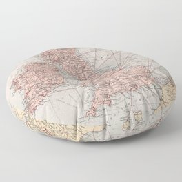 Vintage British Isles & North Sea Map (1871) Floor Pillow