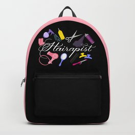 Hairapist Hairdresser Hair Stylist Barber Design On Black Backpack