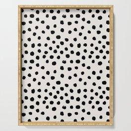 Preppy brushstroke free polka dots black and white spots dots dalmation animal spots design minimal Serving Tray