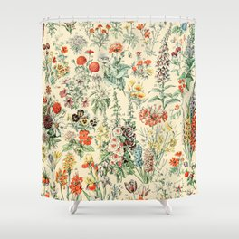Wildflower Diagram // Fleurs II by Adolphe Millot XL 19th Century Science Textbook Artwork Shower Curtain